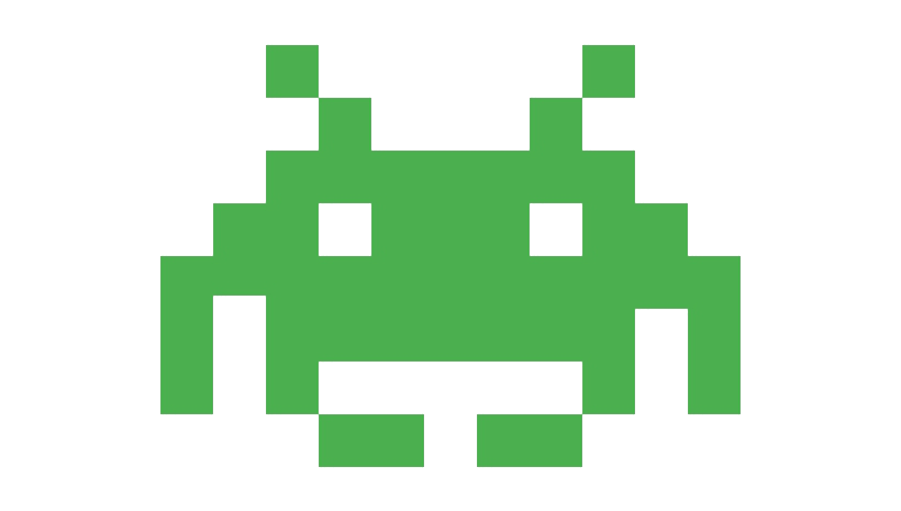 space invaders text logo
